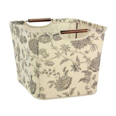 11 in. x 16 in. Medium Tapered Canvas Storage Bin with Handles in Floral Pattern