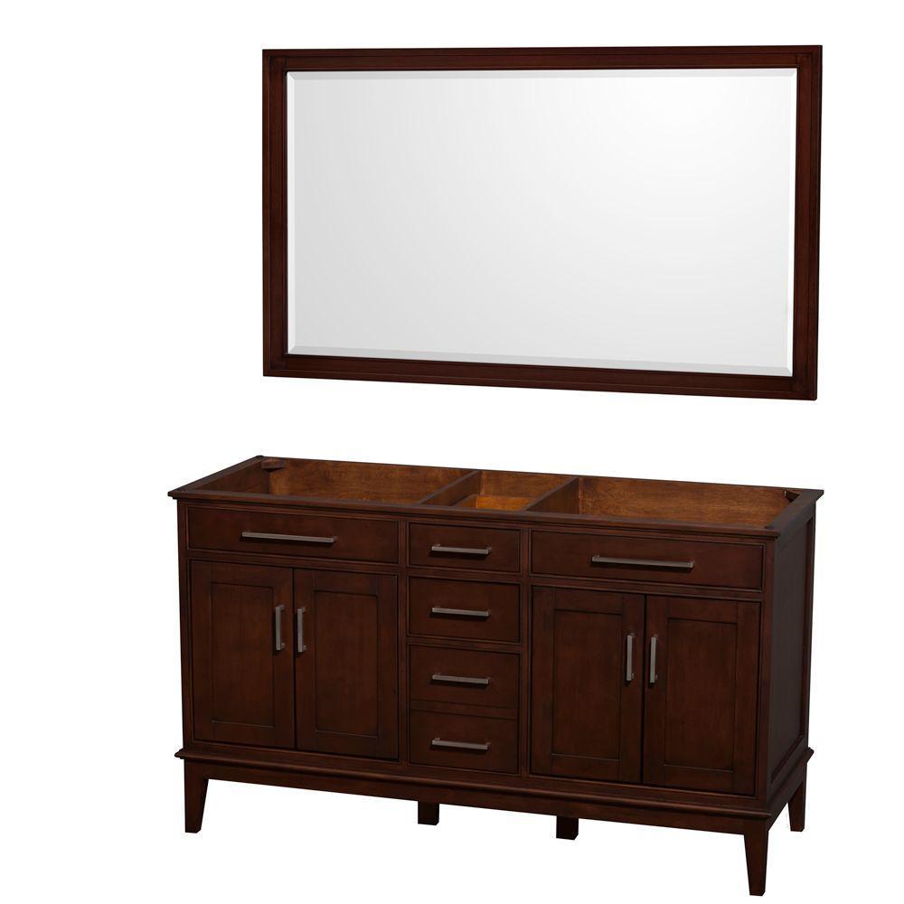 Wyndham Collection Hatton 59 in. Vanity Cabinet with Mirror in Dark Chestnut