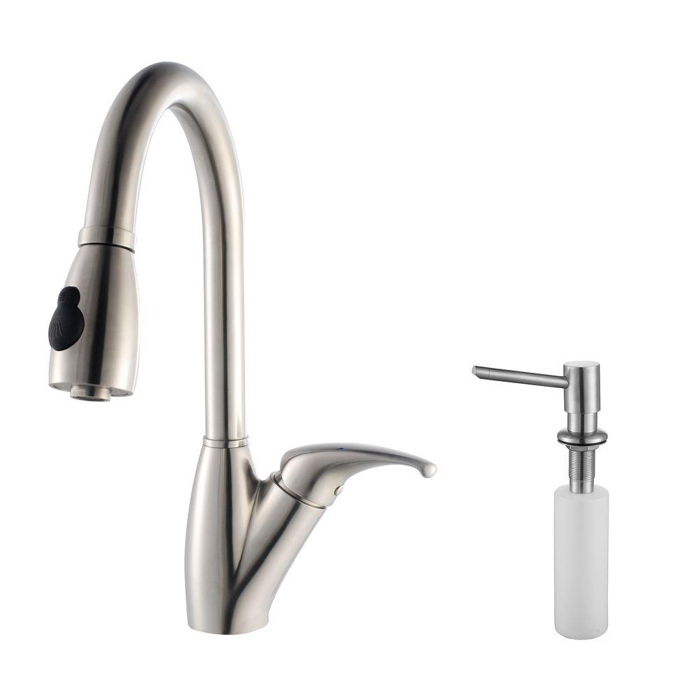 KRAUS Single-Handle Stainless Steel High Arc Pull-Down Sprayer Kitchen Faucet and Soap Dispenser in Stainless Steel