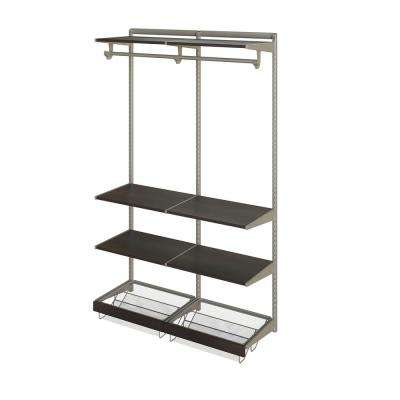 Closet Culture 16 in. D x 48 in. W x 78 in. H  with 6 Espresso Wood Shelves Steel Closet System