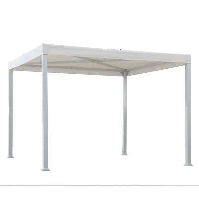 Melville 10 ft. x 10 ft. Modern White Steel Gazebo with White Flat Top Canopy