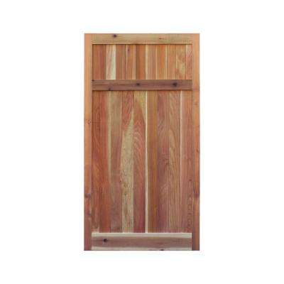 3 ft. x 6 ft. Western Red Cedar Flat Top Solid Lattice Fence Gate