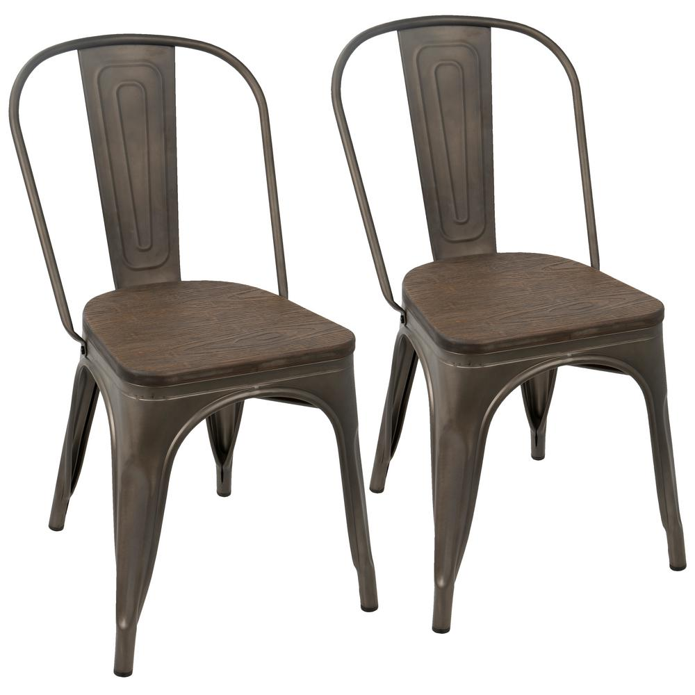 Lumisource Oregon Antique and Dark Espresso Dining Chair (Set of 2) - Lumisource Oregon Antique And Dark Espresso Dining Chair (Set Of 2