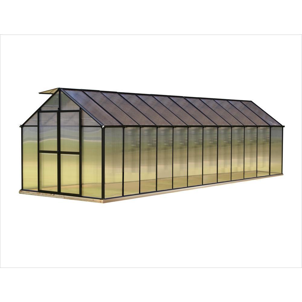 Monticello 8 ft. x 24 ft. Black Premium Greenhouse