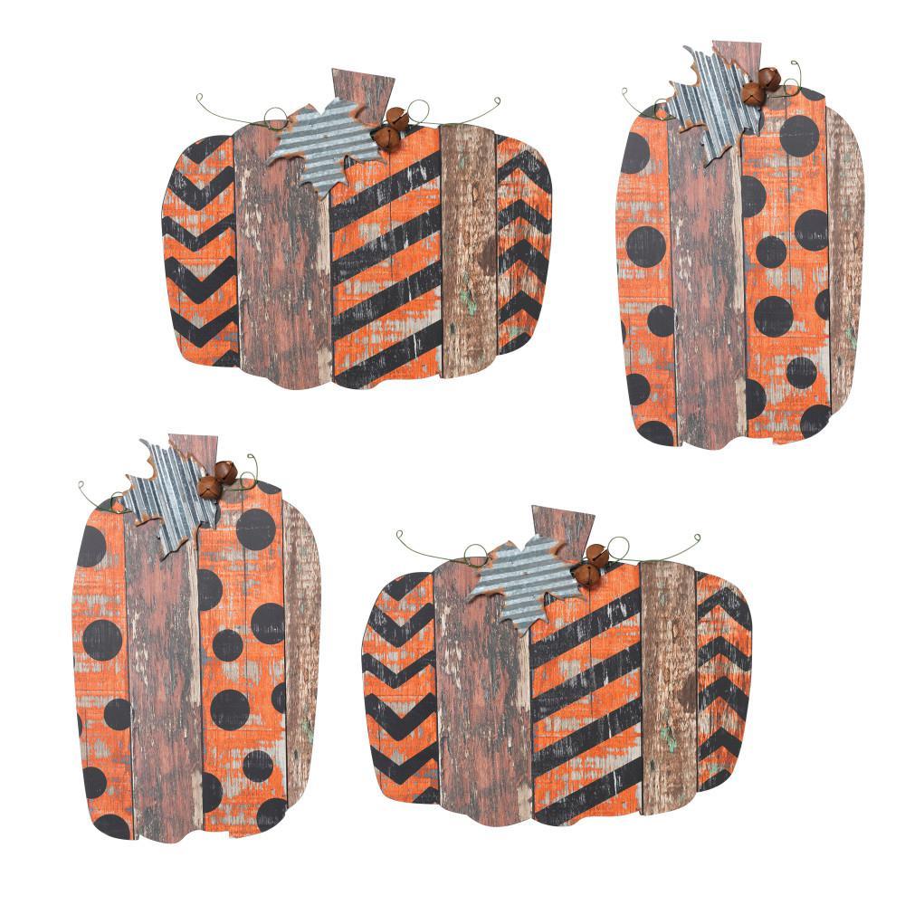 19 in. Pumpkin Wall Hangings (Set of 4)