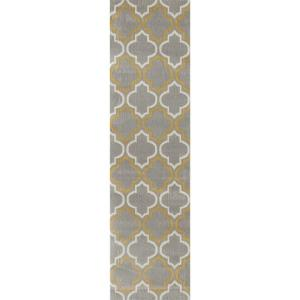 World Rug Gallery Modern Moroccan Trellis Gray Yellow 2 Ft