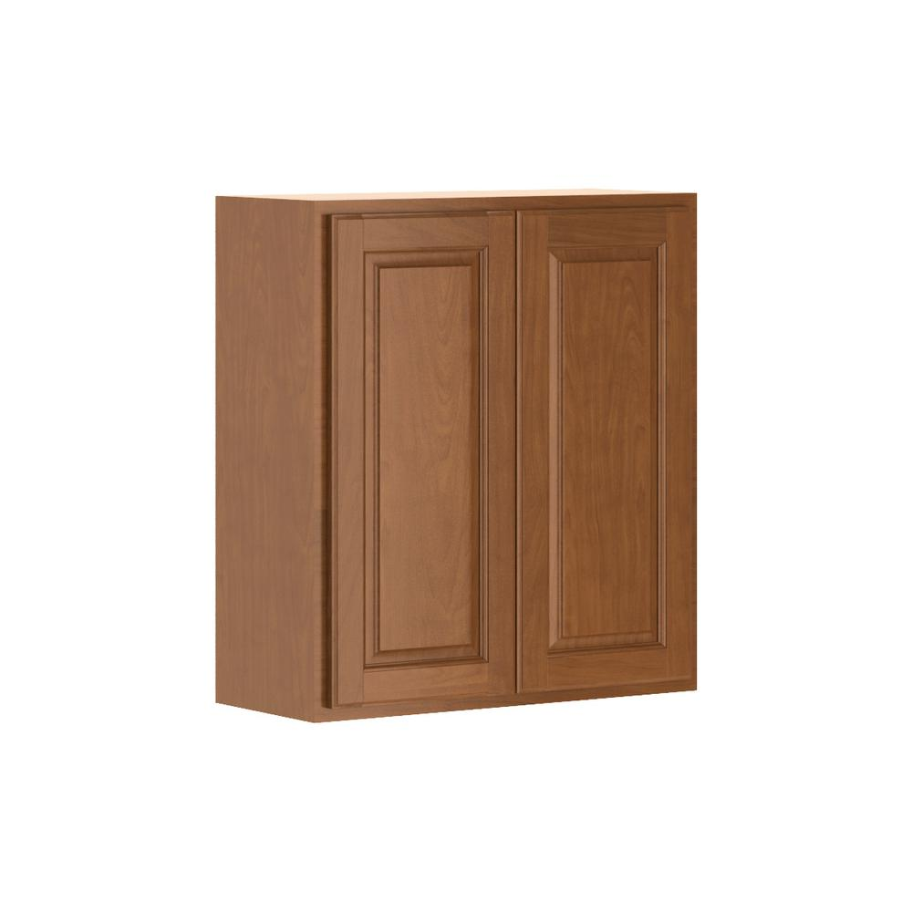 Madison Assembled 27x30x12 in. Wall Cabinet in Cognac