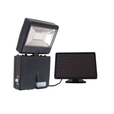 Super Bright Black 400 Lumen Motion Activated Outdoor Integrated LED 6500K Solar Powered Landscape Flood Light