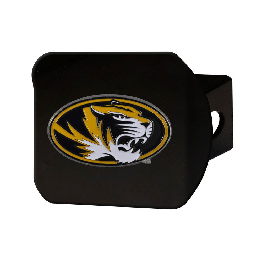 NCAA University of Missouri Color Emblem on Black Hitch Cover