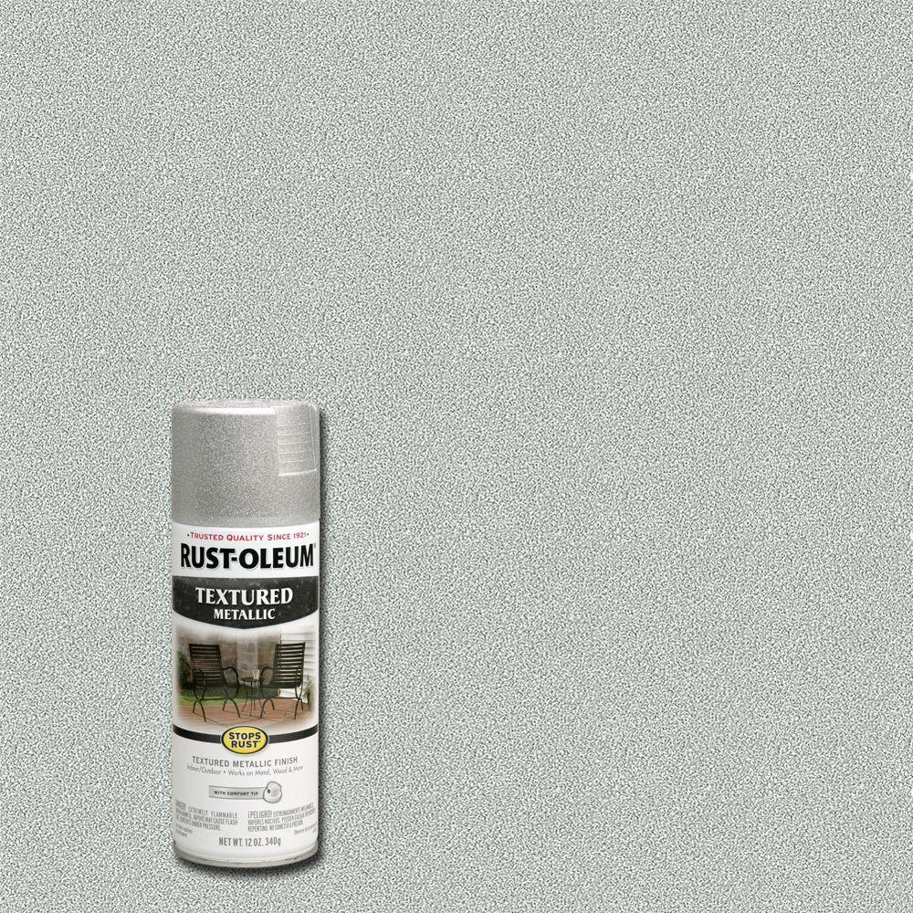 Rust oleum stops rust 12 oz protective enamel silver textured metallic spray paint 251053 the for Rustoleum exterior metal paint