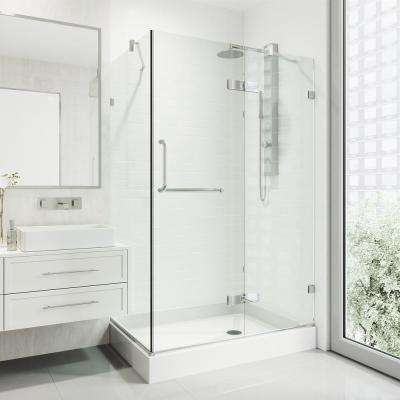 Monteray 40.25 in. x 79.25 in. Frameless Hinged Shower Door in Chrome with Clear Glass with Right Opening and Base
