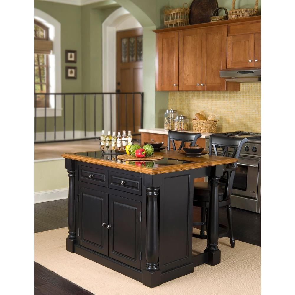 Home Styles Monarch Black Kitchen Island With Seating 5009