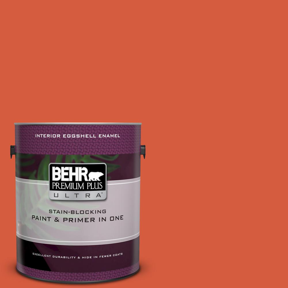 BEHR Premium Plus Ultra 1 gal  #200B-7 Fireglow Eggshell Enamel Interior  Paint and Primer in One