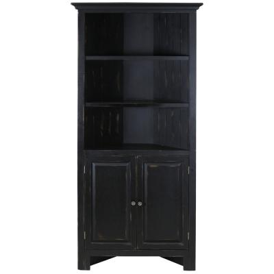 Spring Lake 3-Shelf 2-Door Corner Storage Weathered Black Cabinet with Veneer