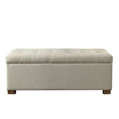 Large Grey Tufted Storage Bench