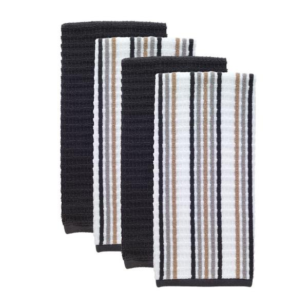 T-Fal Neutral/Charcoal Solid and Stripe Cotton Waffle Terry Kitchen Towel  (Set of 4)