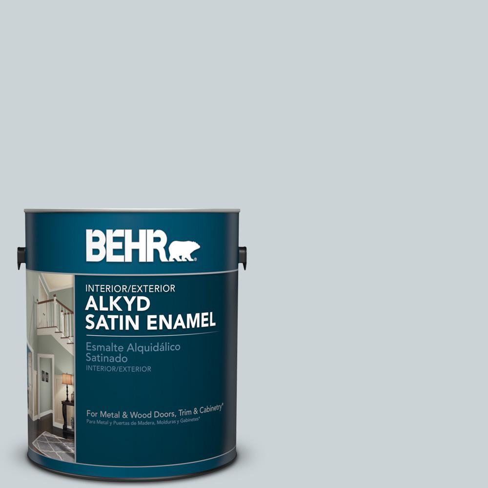1 gal. #N490-1 Absolute Zero Satin Enamel Alkyd Interior/Exterior Paint