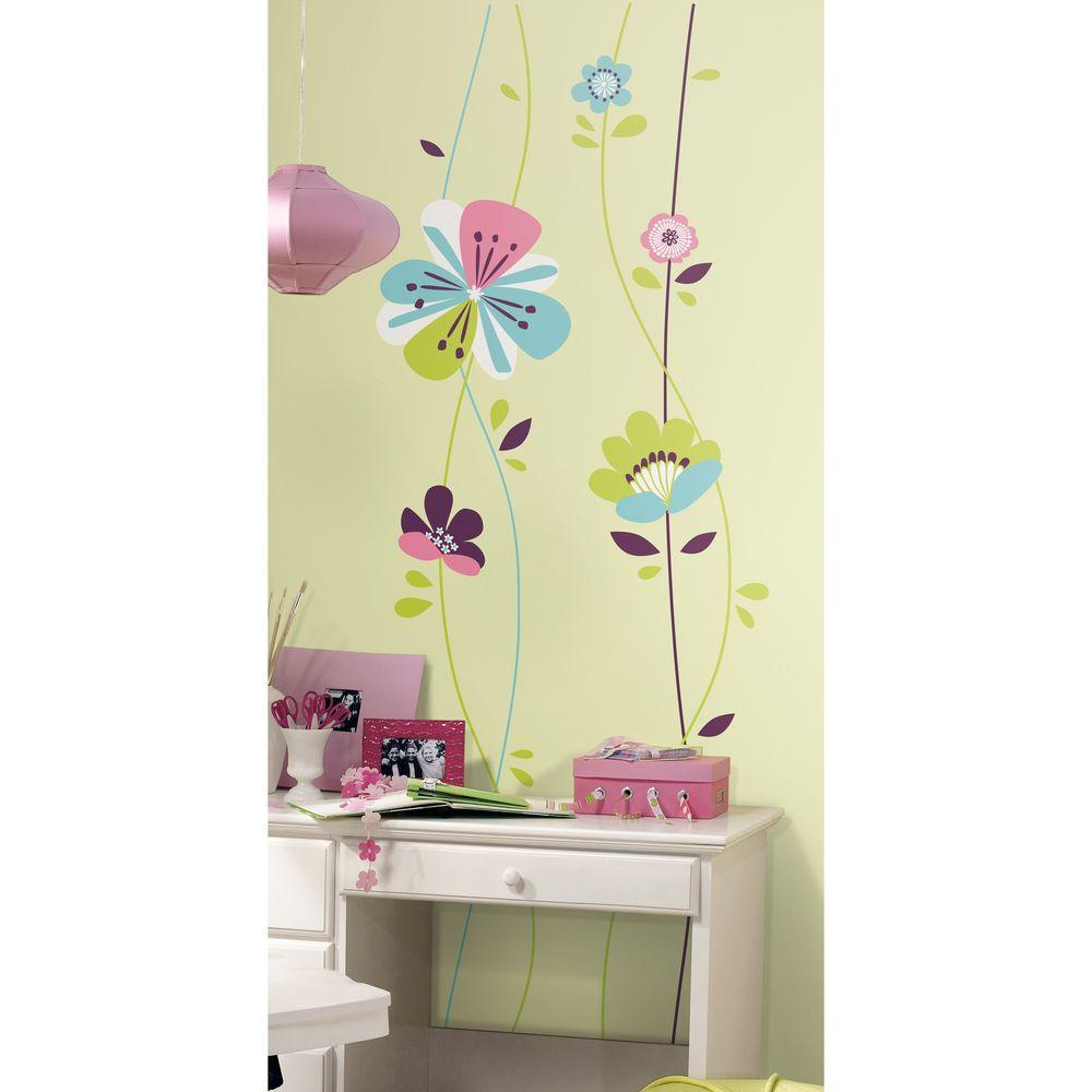 2.5 in. x 27 in. Sugar Blossom Peel and Stick Giant