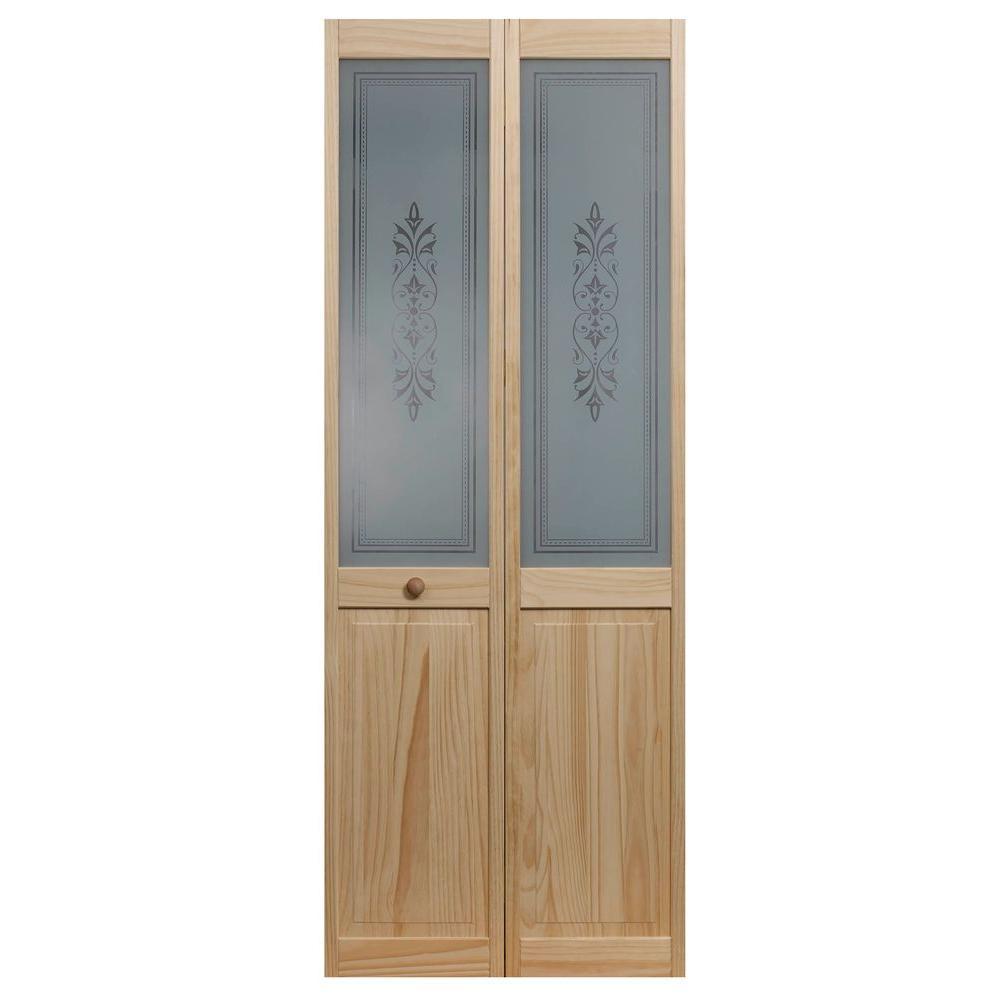 24 in. x 80 in. Lace Glass Over Raised Decorative 1/2-Lite Panel Pine Wood Interior Bi-Fold Door