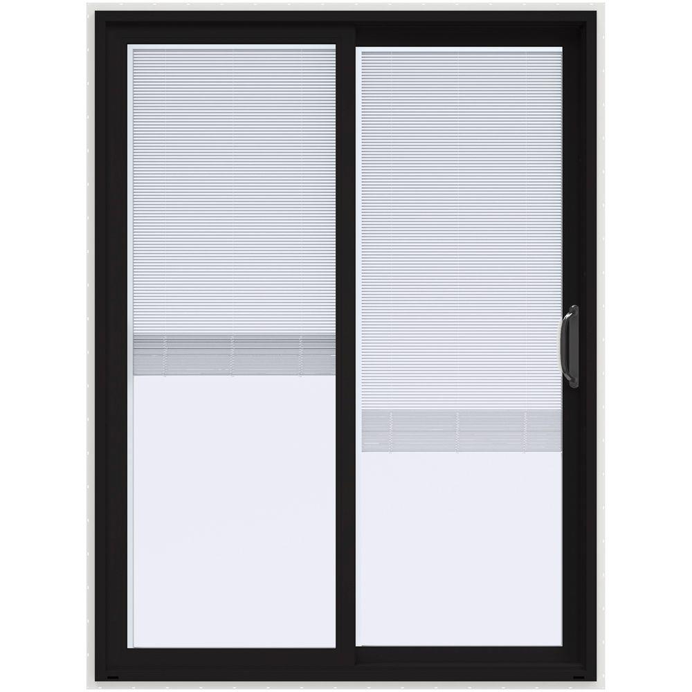 Jeld wen 60 in x 80 in v 4500 black prehung right hand for White pvc patio doors