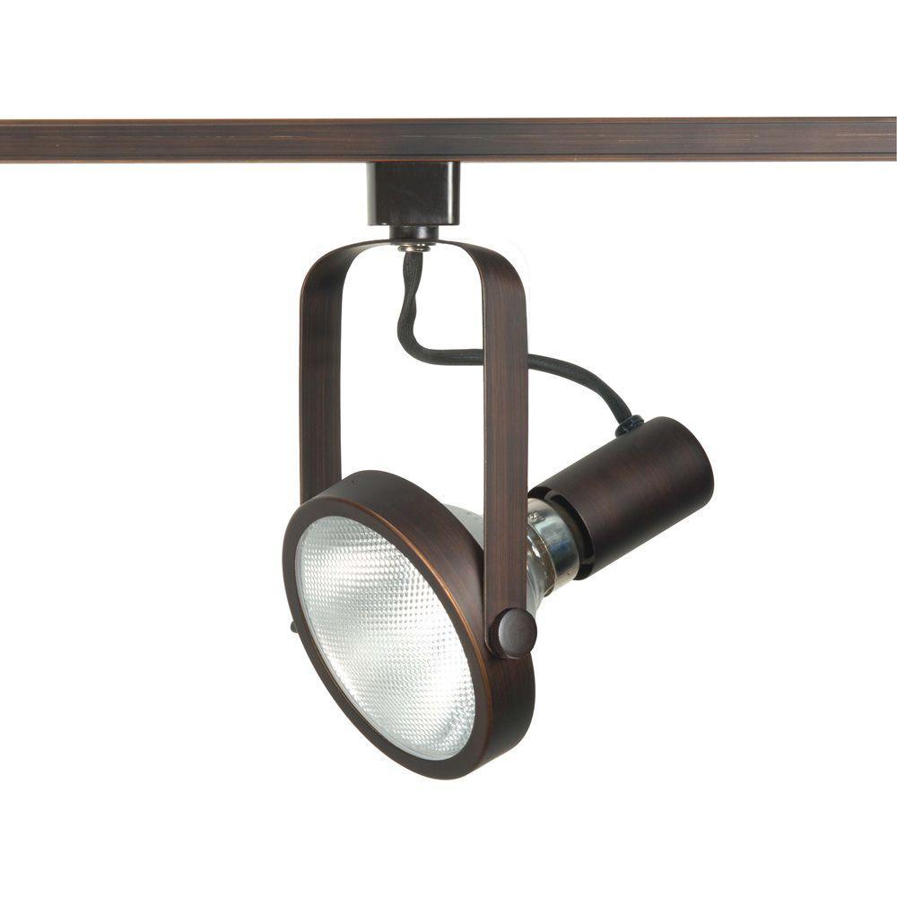 1-Light PAR38 Russet Bronze Gimbal Ring Track Lighting Head