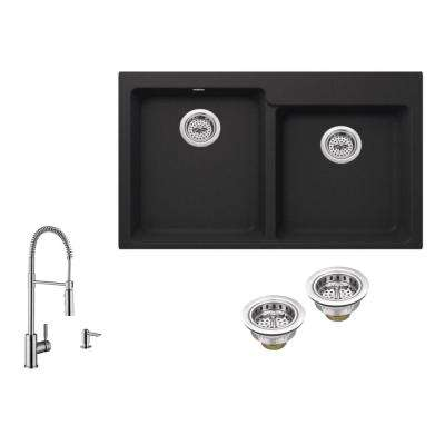All-in-One Drop-in Granite Composite 33 in. 4-Hole 50/50 Double Bowl Kitchen Sink in Black with Faucet in Brushed Nickel