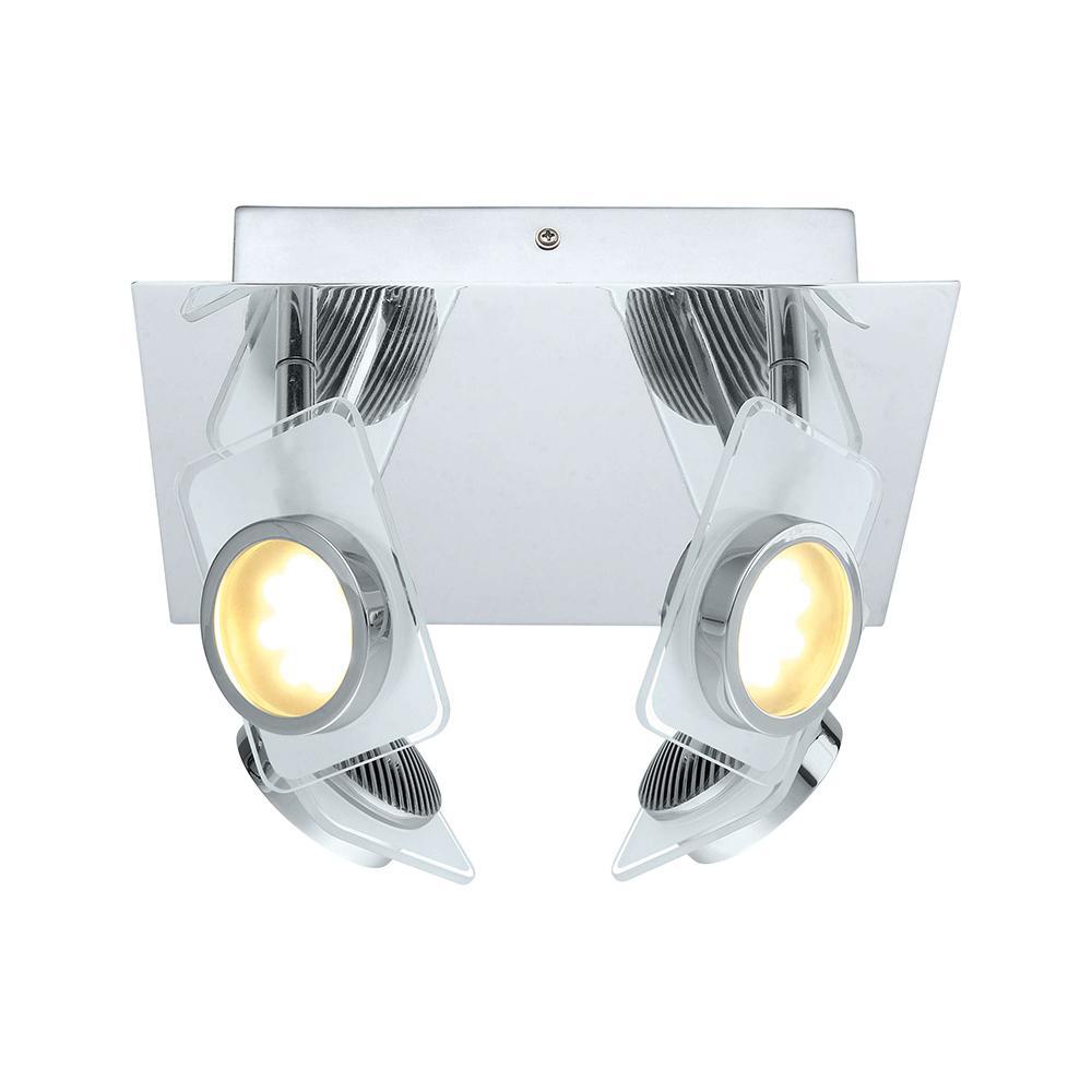 Tinnari 100-Watt Chrome Integrated LED Ceiling Semi-Flush Mount