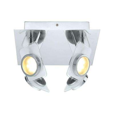 Tinnari 100-Watt Chrome Integrated LED Ceiling Semi-Flushmount