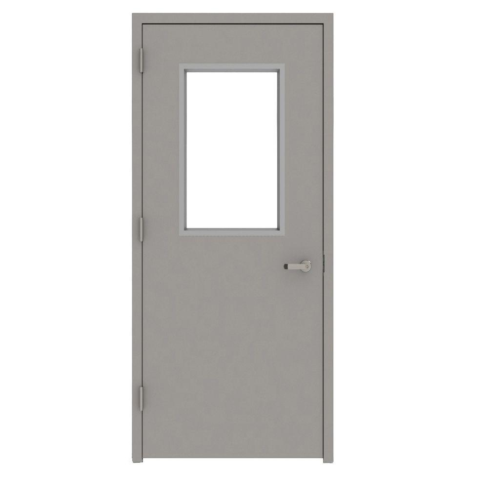L.I.F Industries 36 in. x 84 in. Gray Vision 1/2 Lite Right-Hand Steel Prehung Commercial Door with Welded Frame