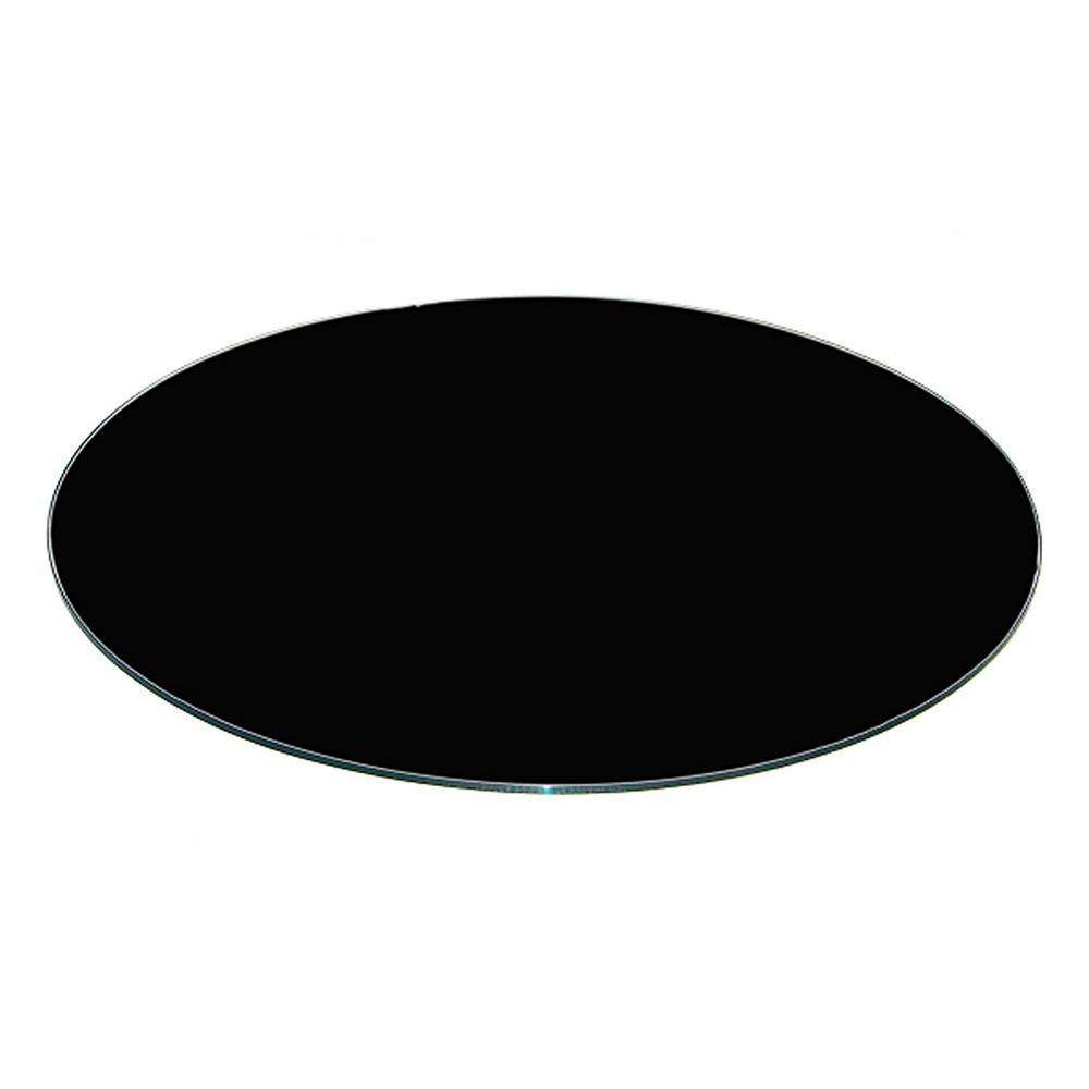 Fab Glass And Mirror 24 Inch Black Round Glass Table Top Back