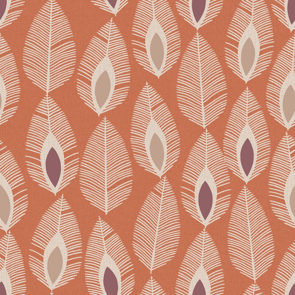 Arthouse Glam Feather Orange Non-Woven Wallpaper 904501