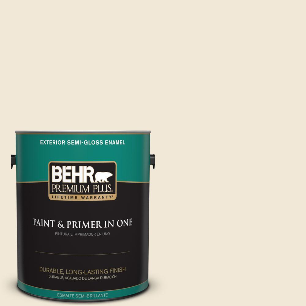 BEHR Premium Plus 1-gal. #YL-W8 Yucca White Semi-Gloss Enamel Exterior Paint