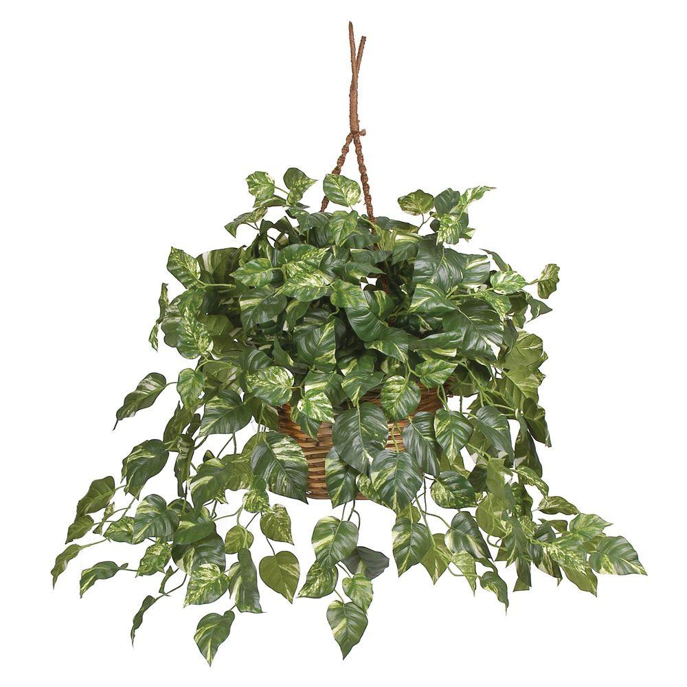 Nearly Natural Pothos Hanging Basket Silk Plant 6517 The
