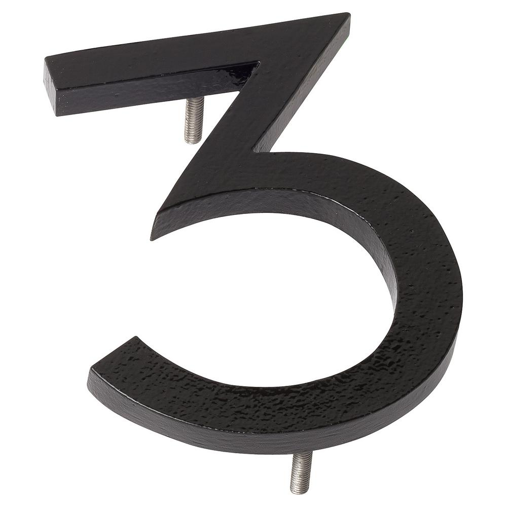 Montague Metal Products 6 in. Black Aluminum Floating or Flat Modern House Number 3