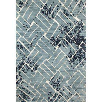 Titanium Basket Of Nature Aqua 9 ft. x 12 ft. Area Rug