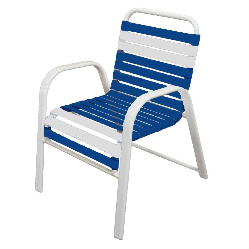 Marco Island White Commercial Grade Aluminum Patio Dining Chair With Blue  And White Vinyl Straps (