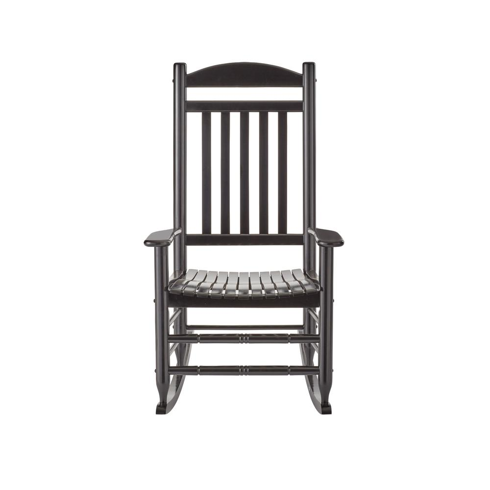 hampton bay black wood outdoor rocking chair it 130828b the home depot