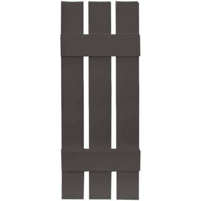 12 in. x 35 in. Board-N-Batten Shutters Pair, 3 Boards Spaced #018 Tuxedo Grey