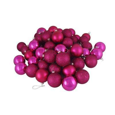 Pink Magenta Shatterproof 4-Finish Christmas Ball Ornaments (24-Count)