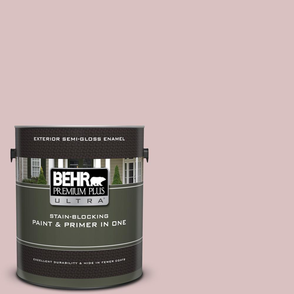 Behr Premium Plus Ultra 1 Gal Ppu17 08 Peony Blush Semi Gloss Enamel Exterior Paint And Primer In One 585001 The Home Depot