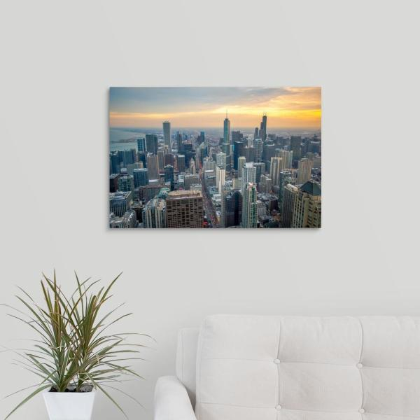 GreatBigCanvas ''Chicago Skyscrapers at Sunset'' by Circle Capture Canvas Wall Art