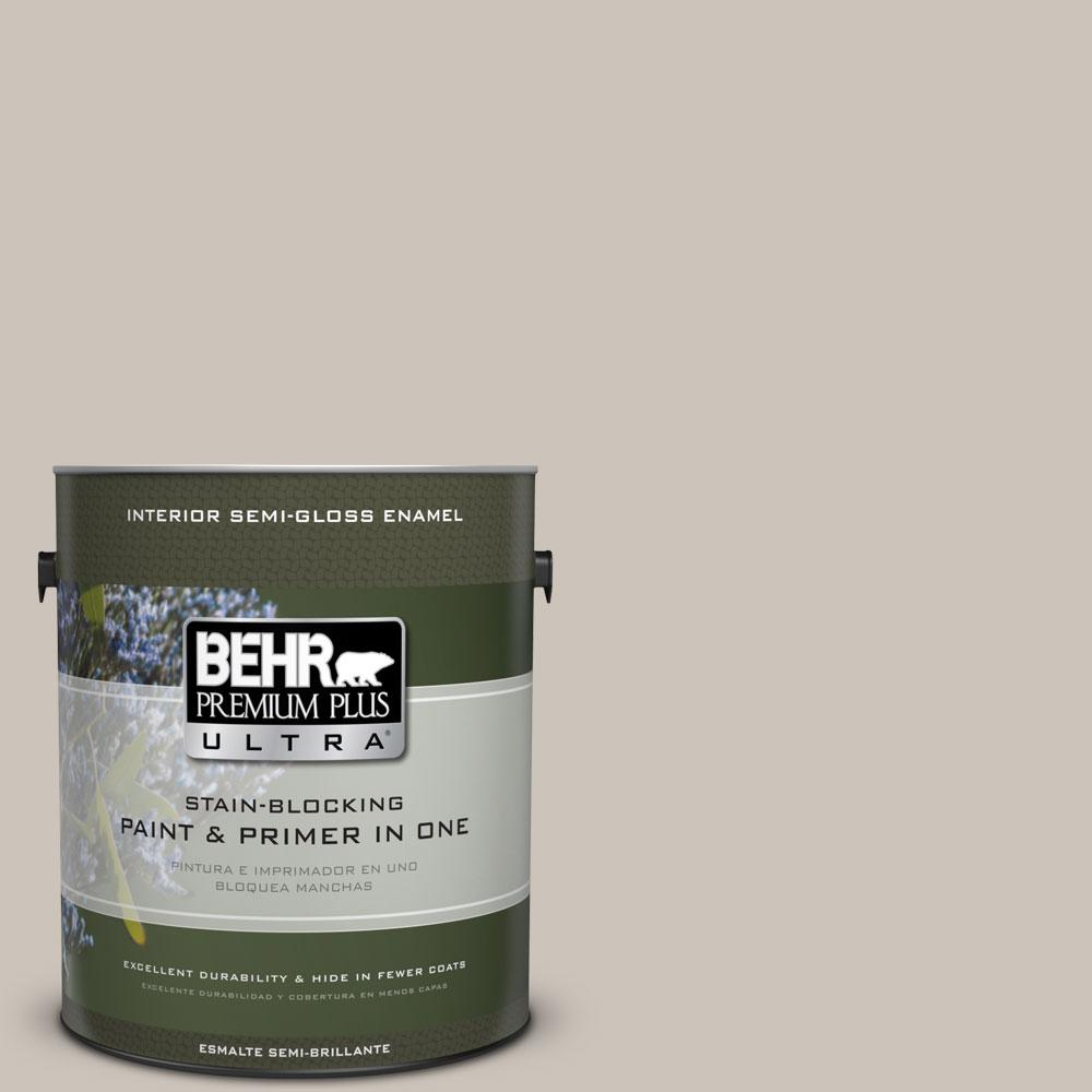 1 gal. #N200-2 Doeskin Gray Semi-Gloss Enamel Interior Paint and Primer