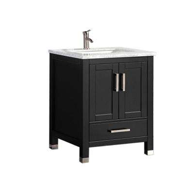 Reisa 30 in. W x 22 in. D x 36 in. H Bath Vanity in Espresso with Grey/White Carrara Marble Vanity Top with White Basin