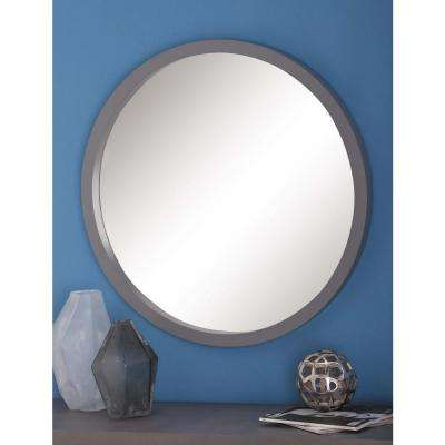 32 in. Modern Round Framed Wall Mirror in Gray