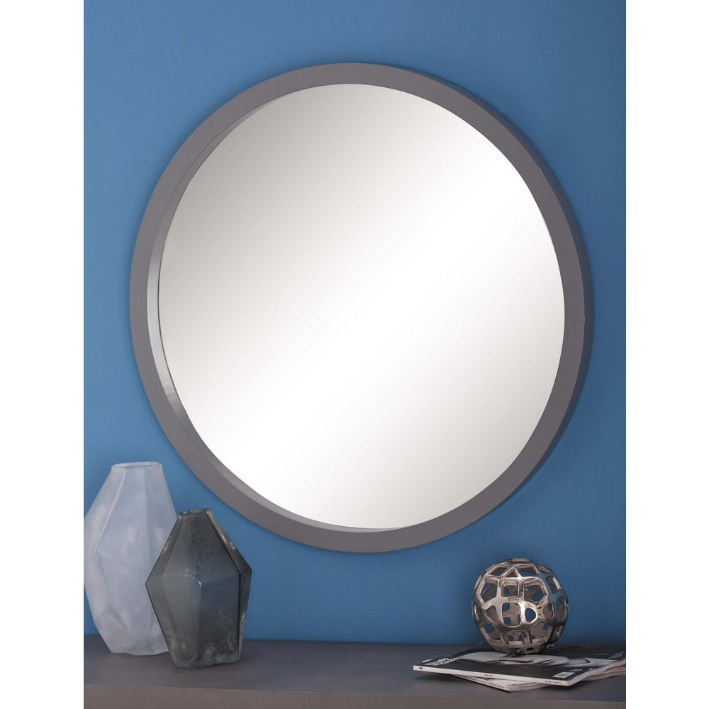 32 in modern round framed wall mirror in gray 60158 the Modern round mirror