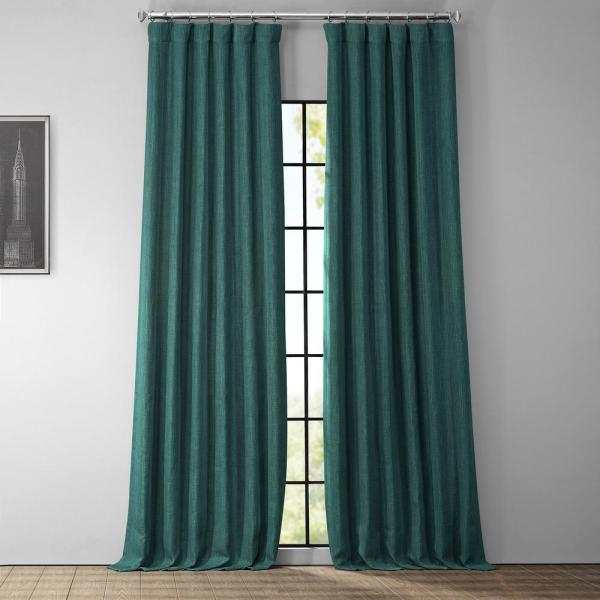 Slate Teal Blue Faux Linen Blackout Room Darkening Curtain - 50 in. W x 108 in. L