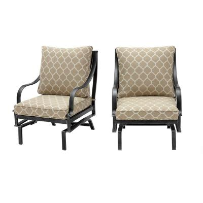 Highland Point Black Pewter Aluminum Outdoor Rocking Lounge Chair with CushionGuard Toffee Trellis Tan Cushions (2-Pack)