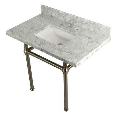 Square-Sink Washstand 36 in. Console Table in Carrara with Metal Legs in Satin Nickel
