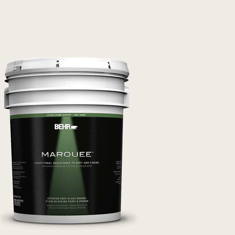 5-gal. #PPU7-12 Silky White Semi-Gloss Enamel Exterior Paint