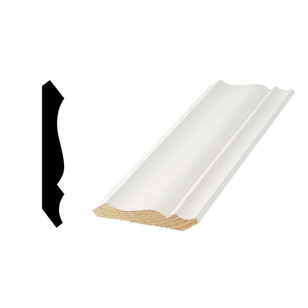 Woodgrain Millwork WM 49 9/16 in. x 3-5/8 in. x 96 in. Primed Finger-Jointed Crown Moulding